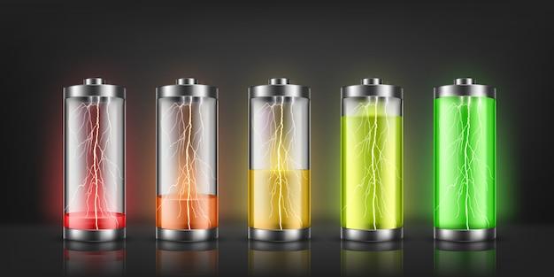 Conjunto de indicadores de carga de la batería con destellos de rayos, con niveles de energía bajos y altos.