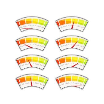 Conjunto de indicadores de medición de rendimiento con diferentes zonas de valor en blanco