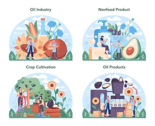 Conjunto de industria de extracción o producción de petróleo. ilustración de vector aislado