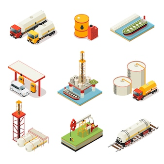 Conjunto de industria petrolera isométrica
