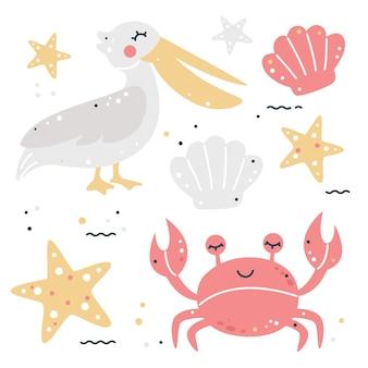 Conjunto infantil dibujado a mano con pelícano, cangrejo, estrellas de mar y conchas