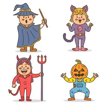 Conjunto infantil de halloween dibujado a mano