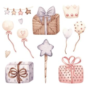 Conjunto infantil de juguetes y regalos ilustración acuarela