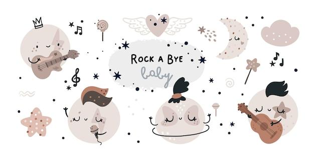 Conjunto infantil con planetas de dibujos animados, lunas. estrella de rock y tema musical para baby shower o fiesta pequeña