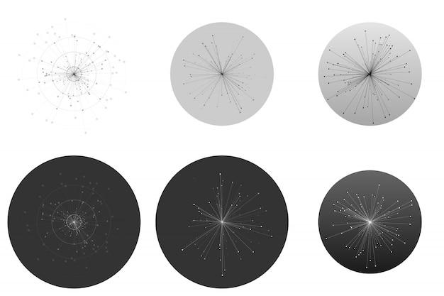 Conjunto de infografía abstracta con moléculas aisladas sobre fondo blanco.