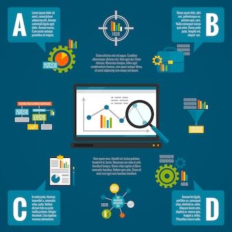 Conjunto de infografía analítica de datos.
