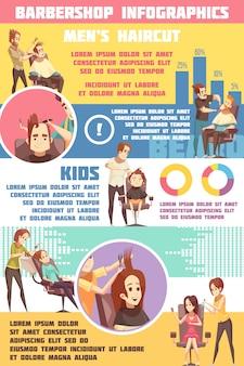 Conjunto de infografía de barbería