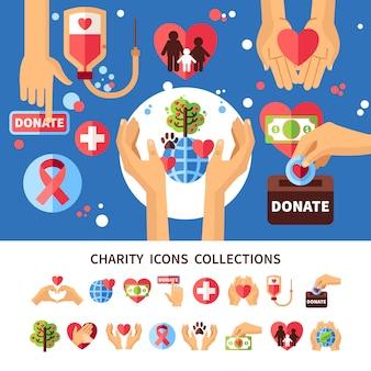 Conjunto de infografía de caridad