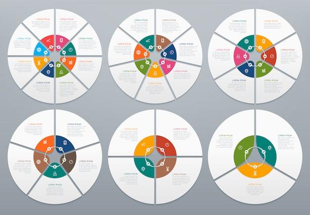 Conjunto de infografía círculo