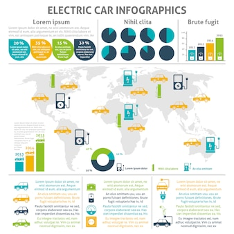 Conjunto de infografía de coche eléctrico