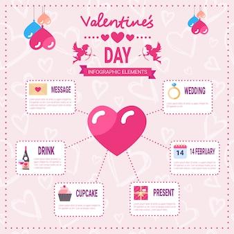 Conjunto de infografía del día de san valentín de iconos de elementos de plantilla sobre fondo rosa, gráfico de información de vacaciones de amor
