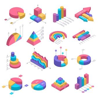 Conjunto de infografía diagramas isométricos
