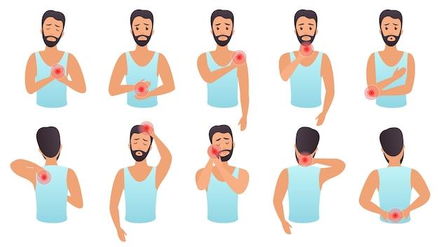 Conjunto de infografía de dolor de partes del cuerpo. el hombre siente dolor en diferentes partes del cuerpo plano.