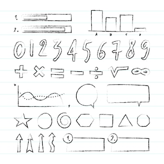 Conjunto de infografía escolar dibujada a mano