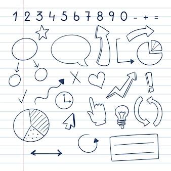 Conjunto de infografía escolar dibujado a mano