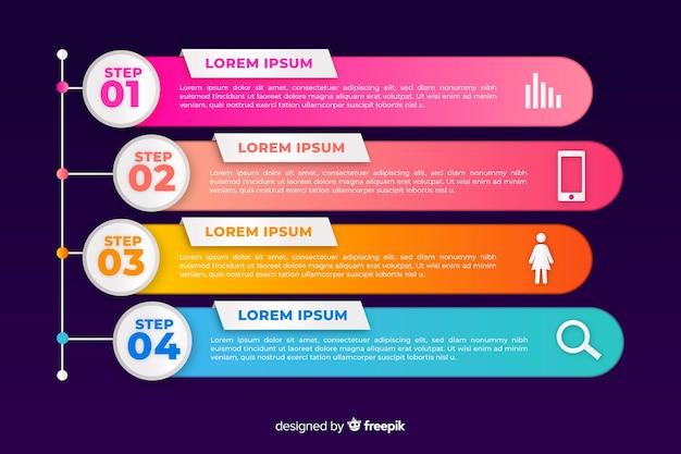 Conjunto de infografía gradiente de plantilla de fases