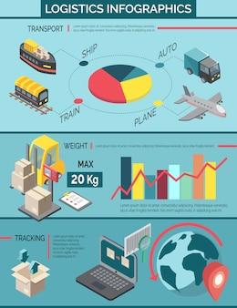 Conjunto de infografía logística
