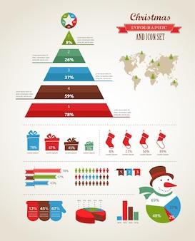 Conjunto de infografía navideña con gráficos y elementos de datos.