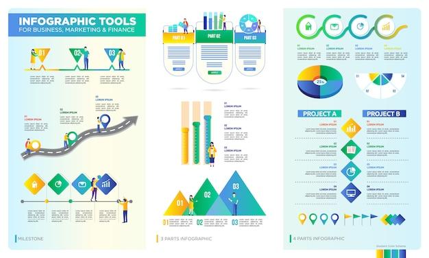 Conjunto de infografía para negocio, corporativo o presentación de datos.
