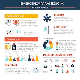 Conjunto de infografía paramédico de emergencia