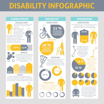 Conjunto de infografía de personas con discapacidad