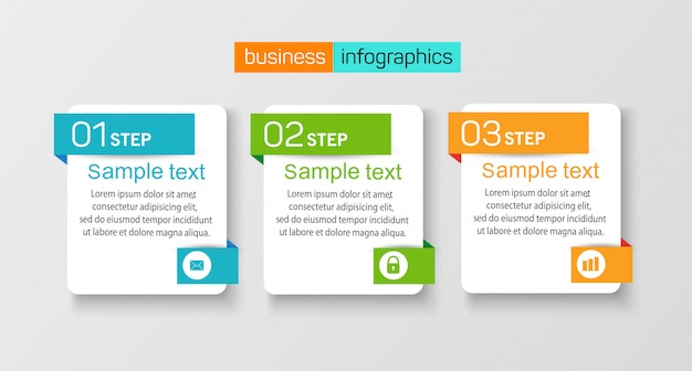 Conjunto de infografía de plantilla con 3 opciones.