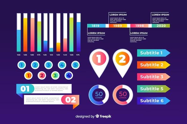 Conjunto de infografía de plantilla de negocios gráficos