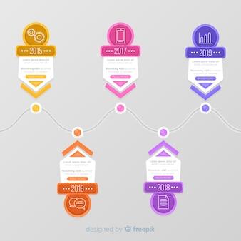 Conjunto de infografía de plantilla de pasos