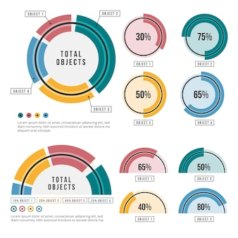 Conjunto de infografía radial