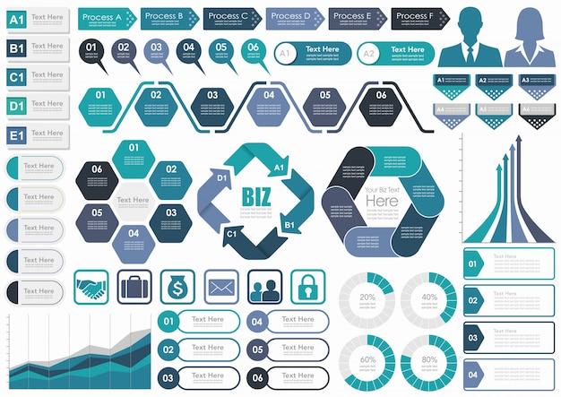 Conjunto de infografía relacionada con el negocio surtido