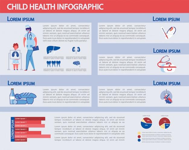 Conjunto de infografía de salud infantil - estadística de medicina.