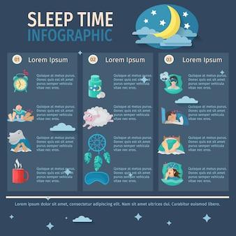 Conjunto de infografía tiempo de sueño