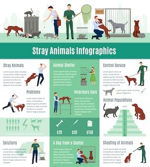 Conjunto de infografías de animales callejeros con el valor de cálculo en servicios veterinarios.