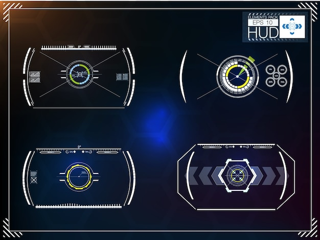 Conjunto de infografías azules futuristas como head-up display. muestra elementos de navegación para la web y la aplicación.
