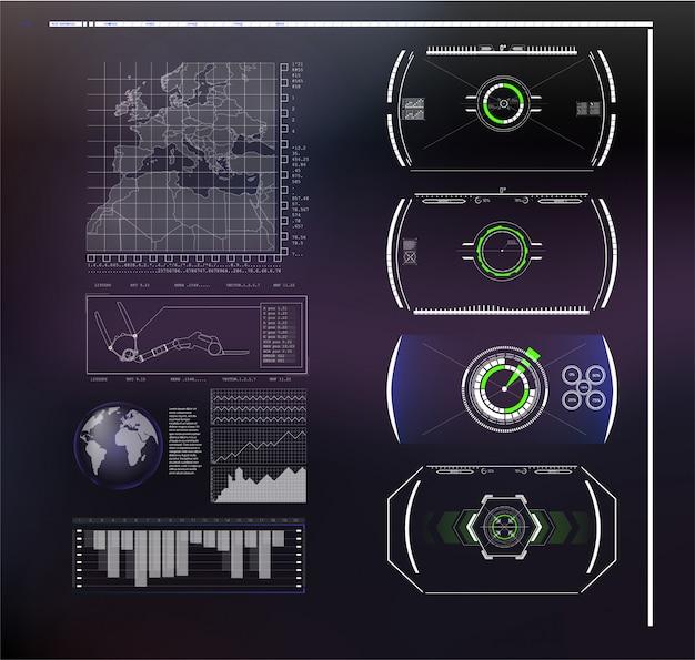 Conjunto de infografías azules futuristas como pantalla de cabeza arriba. mostrar elementos de navegación para la web y la aplicación. interfaz de usuario futurista