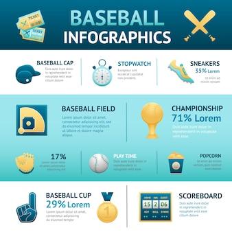Conjunto de infografías de béisbol
