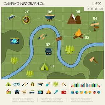 Conjunto de infografías camping