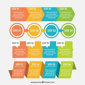 Conjunto de infografías coloridas con pasos