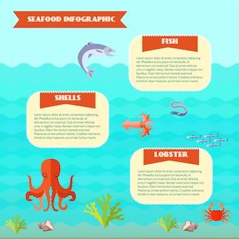 Conjunto de infografías de comida de mar