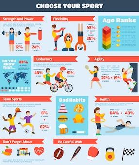 Conjunto de infografías de deportes