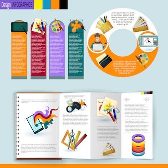 Conjunto de infografías de diseño