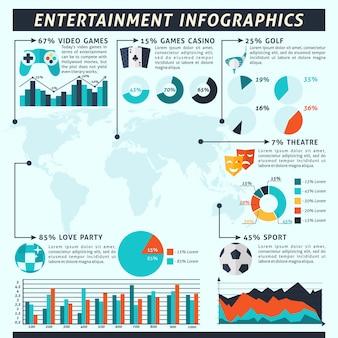 Conjunto de infografías de entretenimiento