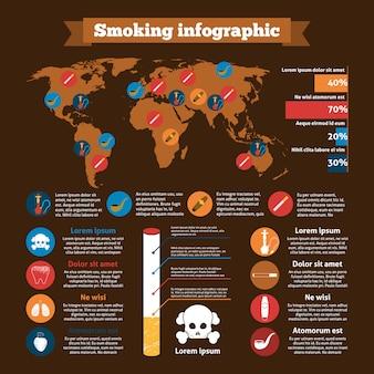 Conjunto de infografías de fumar
