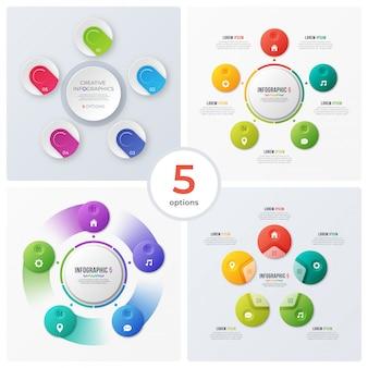 Conjunto de infografías y gráficos circulares modernos