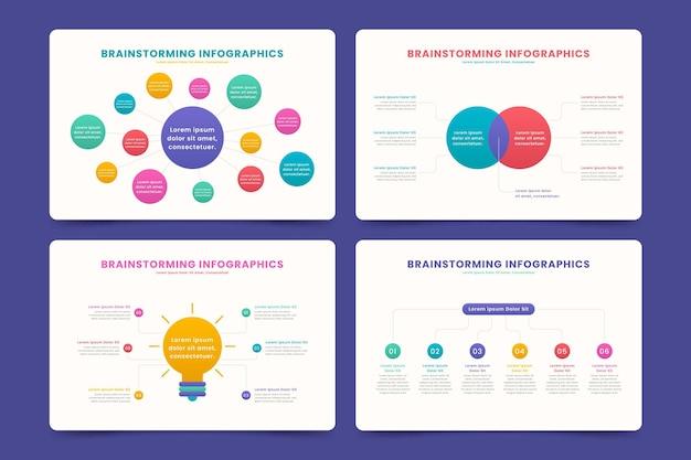 Conjunto de infografías de lluvia de ideas de diseño plano