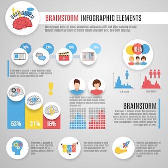 Conjunto de infografías de lluvia de ideas