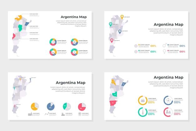Conjunto de infografías de mapa lineal de argentina