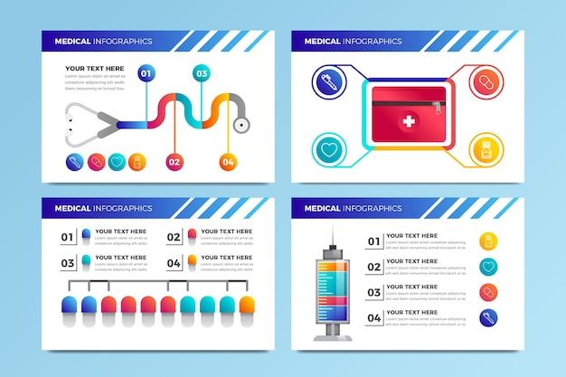 Conjunto de infografías médicas gradiente