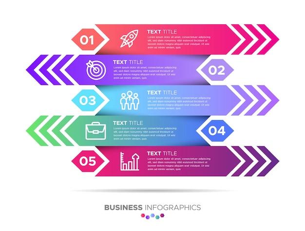 Un conjunto de infografías de negocios de 5 pasos con formas de gradiente de flecha