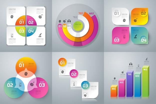Conjunto de infografías de negocios.